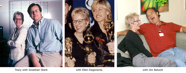 three photos of Tracy Newman, with writing partner Jonathan Stark, winning the Emmy with Ellen Degeneres, laughing it up with Jim Belushi