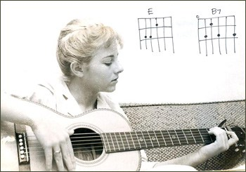 photo of Tracy Newman as a teen playing guitar, with illustration of guitar chords E and B seventh