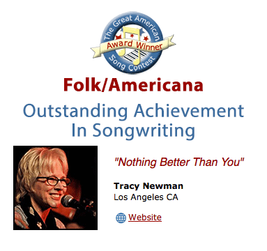 Illustrated logo for Great American Song Contest 2016 with photo of Tracy Newman and title of song Nothing Better Than You